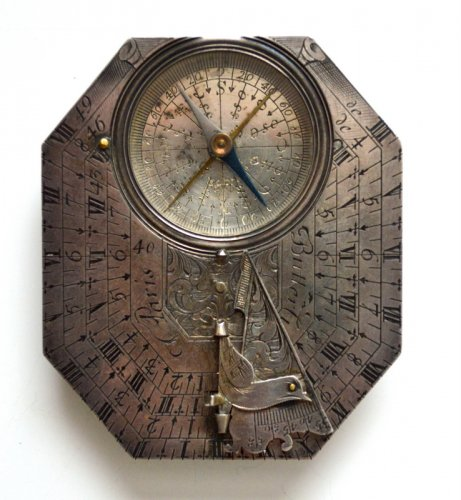 A sundial-compass by michael butterfield.  late 17th century.  -