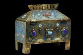 A limoges reliquary casket.   19th century.