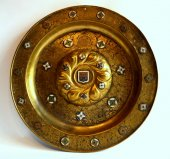 An important alms dish with enamelled plaques.  venice.  circa 1550.
