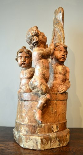 Sculpture of 3 little children in a pickle barrel of a saint nicholas 16th century