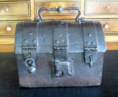 A beautiful wrought iron strongbox.  France.  Middle of the 15th century.