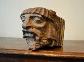 Corbel in the form of a templar knight.  Carved wood.   15th century.