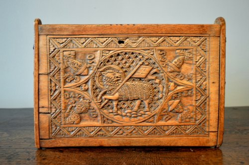 Middle age - A casket in beechwood.   Germany.  15th century.