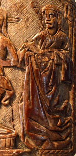 """Religious Antiques  - A walrus ivory """"Pax"""".  15th century."""