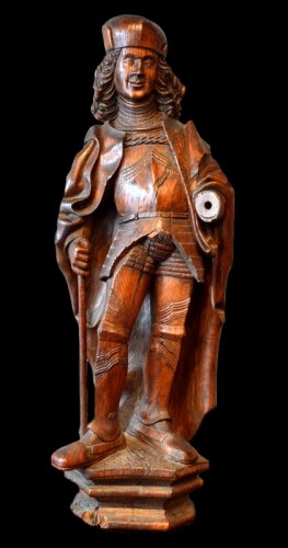 A statue of Saint Adrian in walnut.   Region of Lübeck.  Circa 1520/1530.