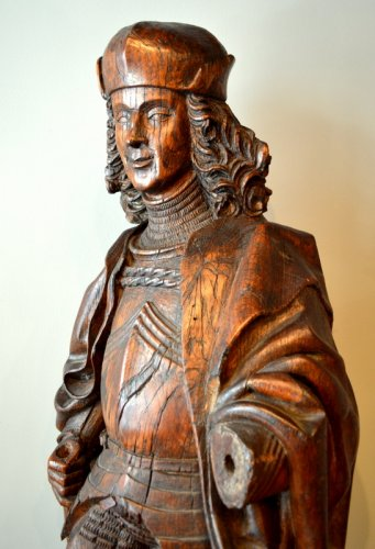 A statue of Saint Adrian in walnut.   Region of Lübeck.  Circa 1520/1530. -