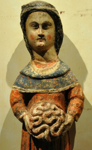 Statue of Saint Mammes of Caesarea.  France.  Circa 1380. - Sculpture Style Middle age