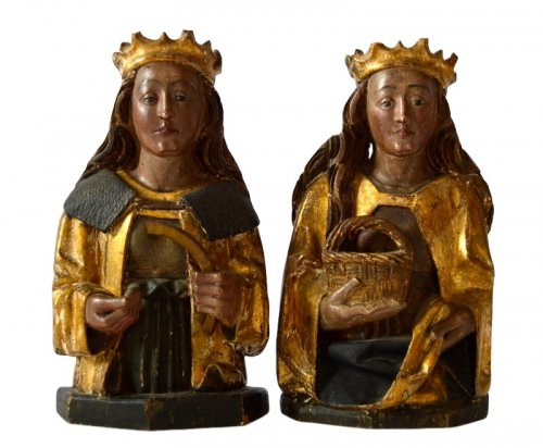 A pair of bustes of female Saints.Germany.15th century.