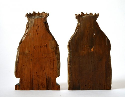 A pair of bustes of female Saints.Germany.15th century. -