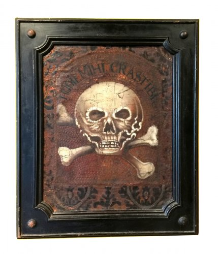 A panel in cordoba leather with a memento mori.  17th century.