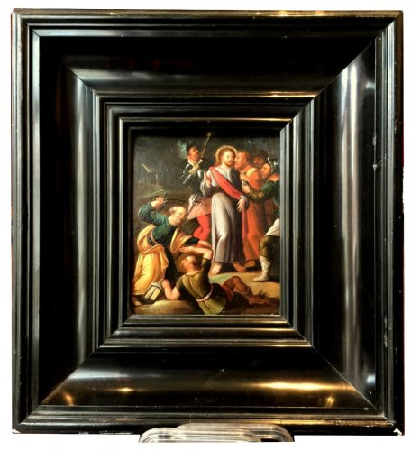"""A painting depicting """"The Judas Kiss"""" Attributed to Frans Francken II"""