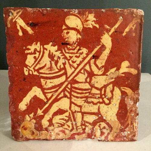 Slipware tile with Saint Georges.  Early 18th century.