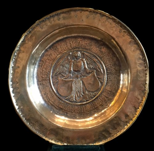 Alms dish with an angel holding two shields, Nürnberg Circa 1500