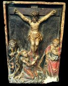 A retable of the Crucifixion in limestone.  Troyes.  Early 16th century.
