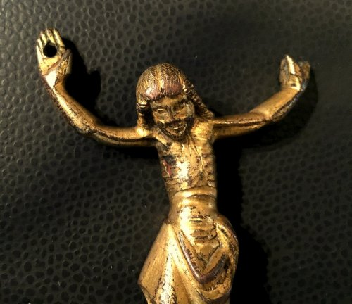 Christ in gilded bronze, Italy Circa 1300 - Religious Antiques Style Middle age