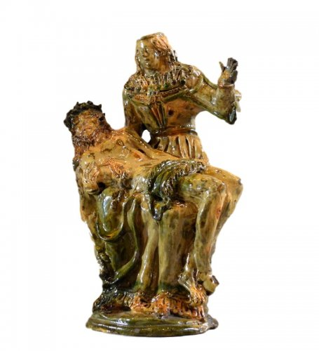 Pieta in glazed earthenware.  Manerbe or Le Pré d'Auge.  Early 17th C.