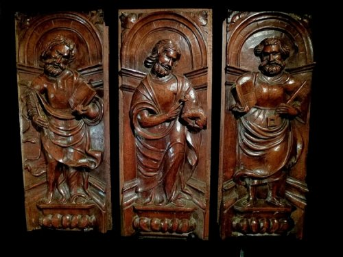 "A set of 3 ""Mannerist"" panels in walnut.  France.  Mid 16th century."