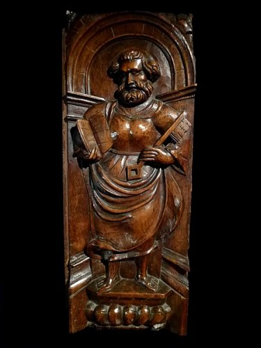 "A set of 3 ""Mannerist"" panels in walnut.  France.  Mid 16th century. -"