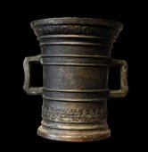 A large bronze mortar.  Germany.  Dated 1596