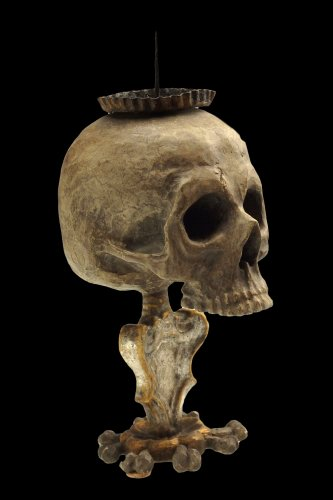 """A very rare """"memento mori"""" altar candlestick.  Southern Germany. Late 17th"""
