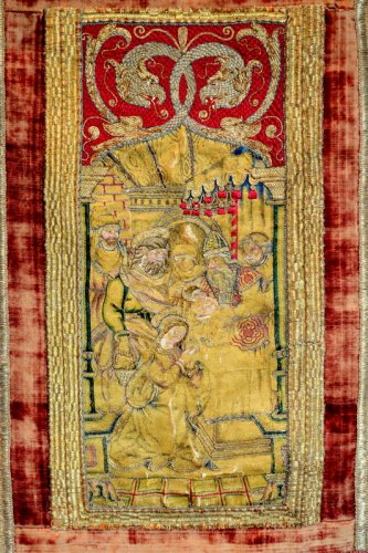 An embroided orphrey panel depicting the Circumcision.  Italy.  Circa 1520. - Religious Antiques Style Renaissance