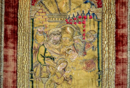 An embroided orphrey panel depicting the Circumcision.  Italy.  Circa 1520. -