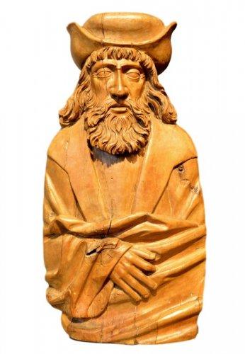 A beautiful sculpture of Saint Rochus.  Würzburg region.  Circa 1550.