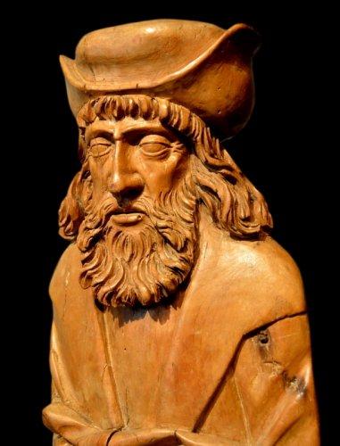A beautiful sculpture of Saint Rochus.  Würzburg region.  Circa 1550. -