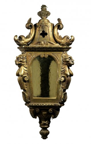 A rare lantern from a gondola in carved & gilded wood.  Venice.  c1790/1800