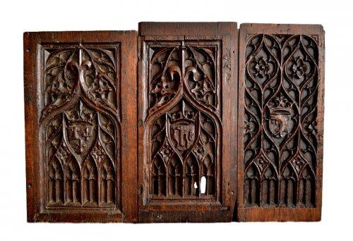 Set of Three gothic panel, Late 15th century.