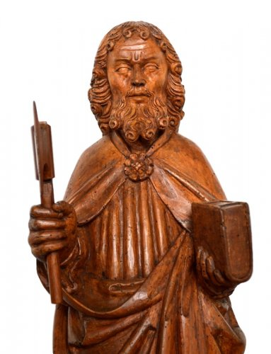 St-Matthew in carved limewood.Germany 15th century. - Sculpture Style Middle age
