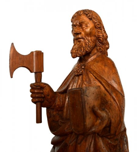 Sculpture  - St-Matthew in carved limewood.Germany 15th century.
