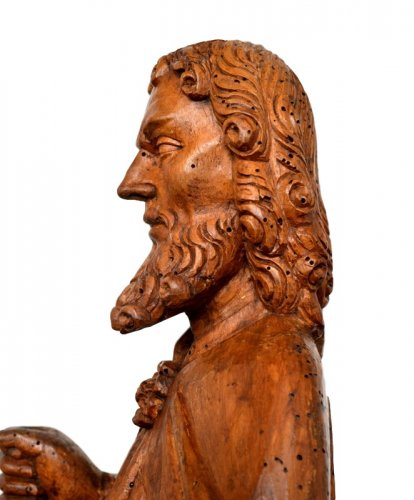 St-Matthew in carved limewood.Germany 15th century. - Middle age
