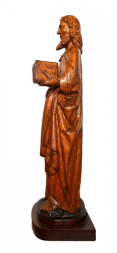 Middle age - St-Matthew in carved limewood.Germany 15th century.