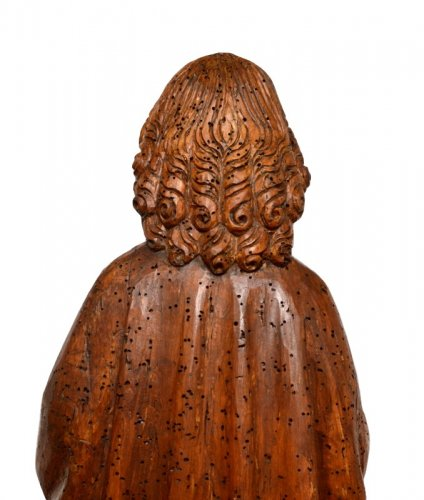 Antiquités - St-Matthew in carved limewood.Germany 15th century.
