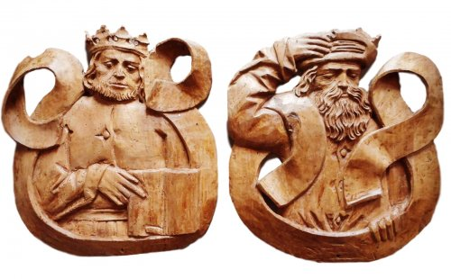 Pair of carved bas-reliefs. Germany .Early 16th century