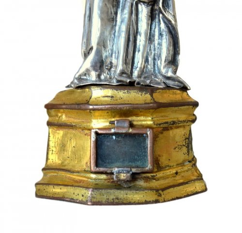 16th century - Important silver reliquary statue15th century