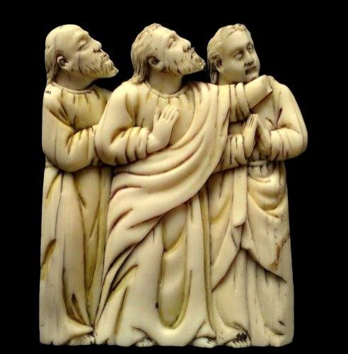 Bone plaque depicting 3 apostles. Circa 1380. - Religious Antiques Style Middle age