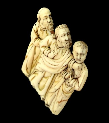 Religious Antiques  - Bone plaque depicting 3 apostles. Circa 1380.