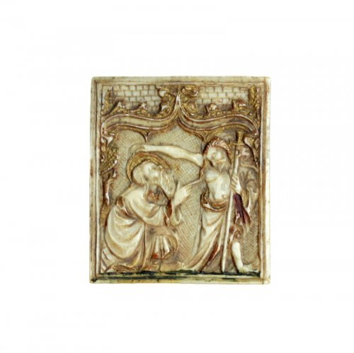 Ivory plaque depicting St-Thomas and Christ. Circa 1450.