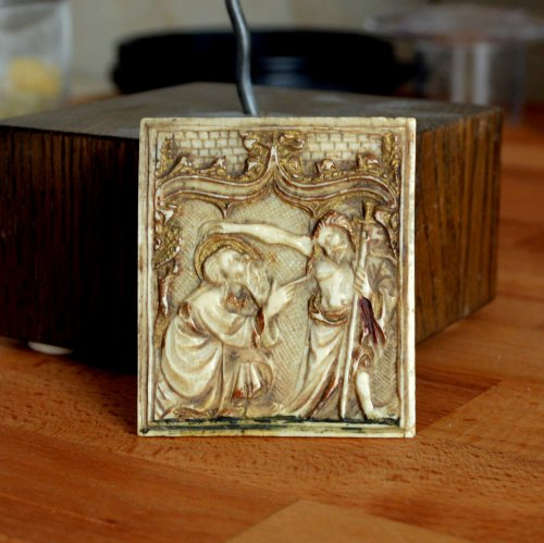 Ivory plaque depicting St-Thomas and Christ. Circa 1450. - Religious Antiques Style Middle age