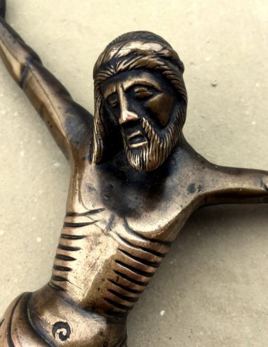 Religious Antiques  - Bronze Christ, France 14th century
