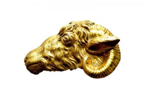 Gilded bronze Ram head circa 1700