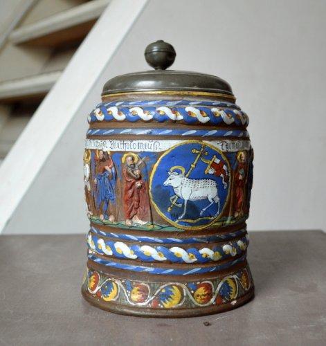Religious Antiques  - A Creussen stoneware tankard.Late 17th century