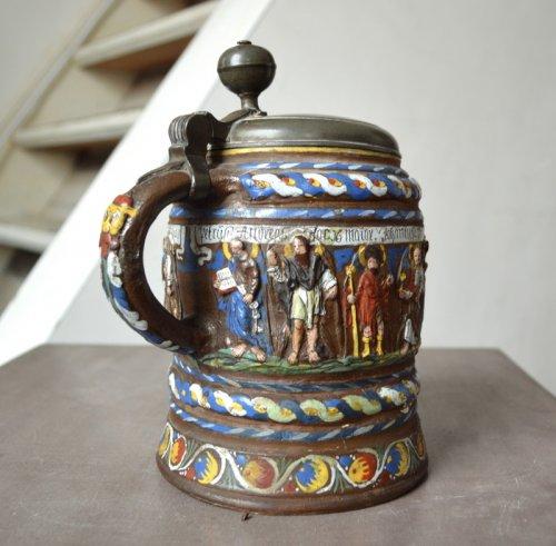 - A Creussen stoneware tankard.Late 17th century