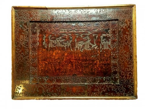 Panel in cedar wood with pyrography.16th century.