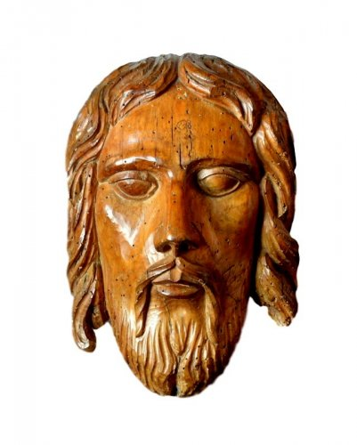 Gothic limewood head of Christ, 15th century