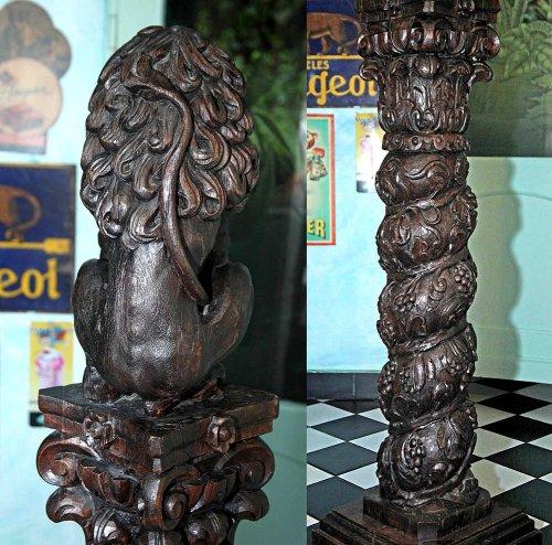 Sculpture  - Baroque Oak Column with Lion, Cologne 17th century