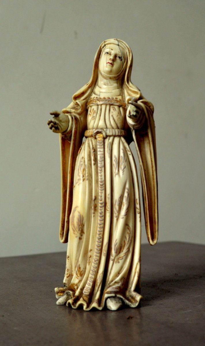 Ivory Carved Virgin Philippines 17th Century Ref 60153