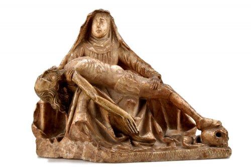 Alabaster carved gothic Pieta Circa 1450